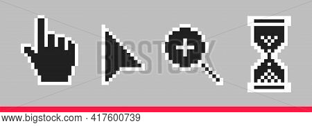 Black And White Pixel Arrow, Hand, Magnifier And Hourglass Pixel Mouse Cursor Icons Vector Illustrat