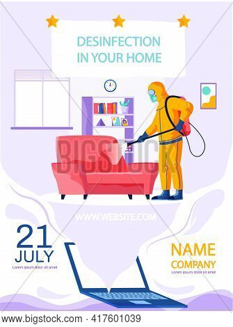 Company Providing Disinfection Services Concept Poster. Man In Yellow Protective Suit Disinfects