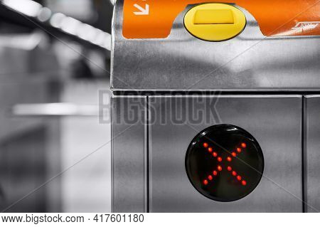 Closeup Of Electronic Turnstile At Subway Station Platform. Gates Are Closed. Automatic Access Syste