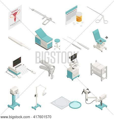 Gynecology Equipment And Instruments Isometric Icons Set Isolated On White Background 3d Vector Illu