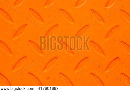 Orange Paint Metal Sheet. Metal Grid Walkway. Grunge Steel Mesh Texture. Heavy Iron Backdrop Pattern