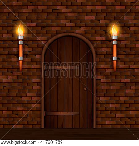 Entrance Doors Facade Realistic 3d Composition With Brick Wall Two Torch Lights And Arched Wooden Do