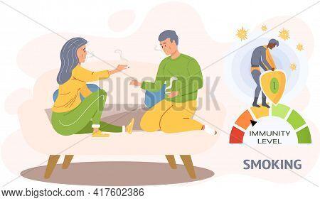 Couple Sitting On Sofa Is Smoking Cigarettes. Tobacco Dependence Decreases Immunity Level