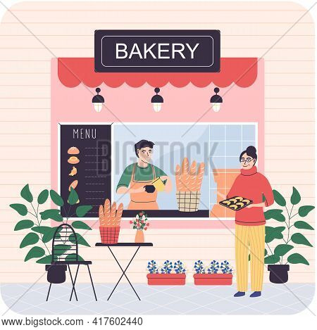 Bakery Shop Building Facade With Signboard. Baking Store, Bread, Pastry And Dessert City Shop