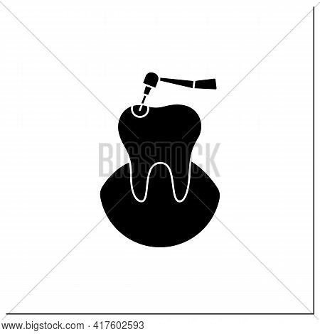 Caries Treatment Glyph Icon.oral Surgeons Specialize In Dental Caries. Root Canal Treatment. Healthc