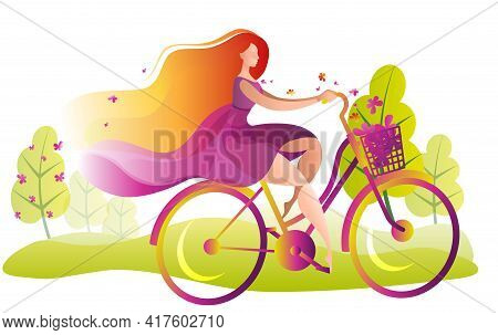 A Beautiful Girl In A Dress Rides A Bicycle With A Basket Of Flowers. Illustration On The Theme Of S