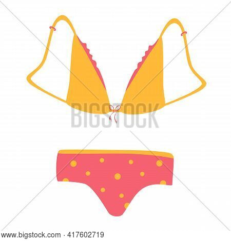 Vector Drawing Of Panties And Bras. A Set Of Fashionable Women's Underwear, A Set Of Underwear. Biki