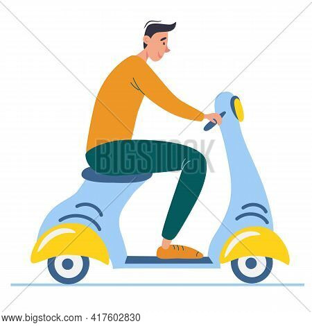 Cartoon Teenager Driving Scooter.  Side View Of Young Male With Motorcycle. Vector Illustration. Iso