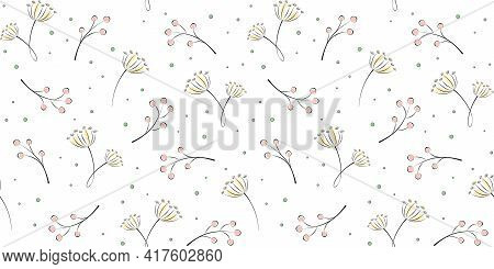 Twigs, Branches With Berries And Inflorescences On A White Background With Small Circles. Plant And