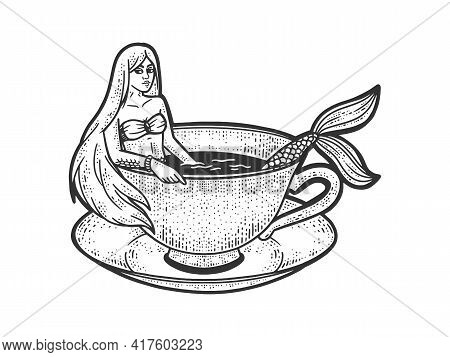 Mermaid Taking A Bath In Cup Of Coffee Sketch Engraving Vector Illustration. T-shirt Apparel Print D