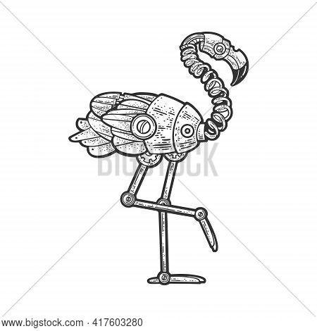 Mechanical Flamingo Bird Sketch Engraving Vector Illustration. T-shirt Apparel Print Design. Scratch