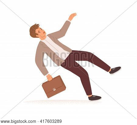 Businessman Stumbling And Falling Down. Fall Of Young Man With Briefcase. Career Failure, Fiasco, Cr