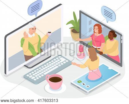 Old Parents And Grandparents Communicating By Video Link. Online Communication With Children
