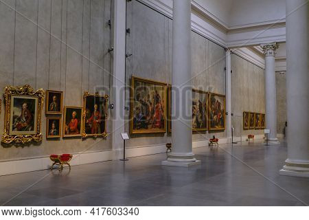 February 2020 Parma, Italy: National Gallery, Galleria Nazionale In Palace, Palazzo Pilotta. White W