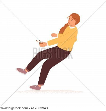 Scared Person With Coffee Cup Stumbling And Falling Down. Accident Fall Of Frightened Woman. Concept