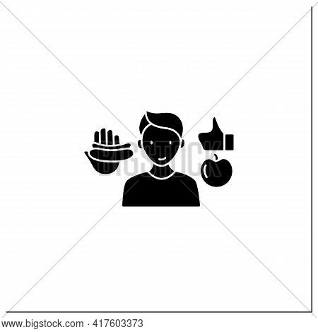 Mindful Eating Glyph Icon. Practice Mindfulness To Eat. Careful Food Selection. Conscious Nutrition.
