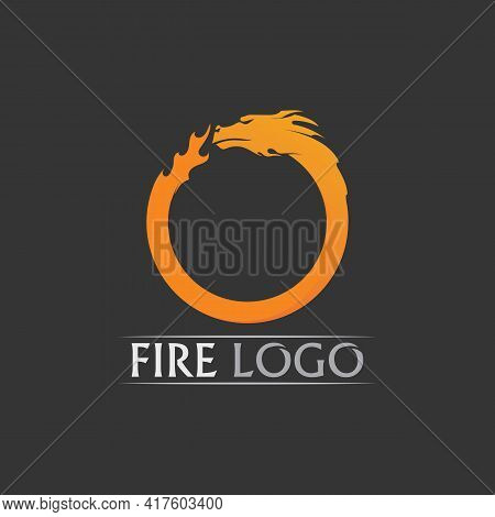 Fire Flame, Dragon Fire, Circle Flames Vector Illustration Design Template Power, Hot, Icon, Logo, L