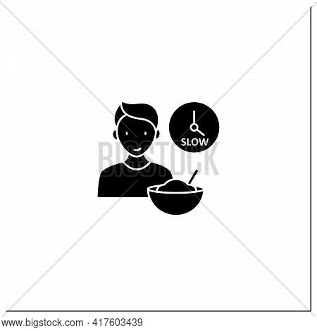 Mindful Eating Glyph Icon. Eating Slowly. Savoring Every Bite.enjoy Meal. Conscious Nutrition. Healt