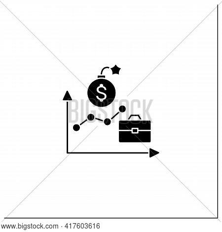 Economic Boom Glyph Icon. Upswing, Upturn, And Growth Period. Profitable Economy Period.business Con