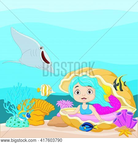 Cartoon Little Mermaid In The Underwater World With Open Pearl Shell And Tropical Fish