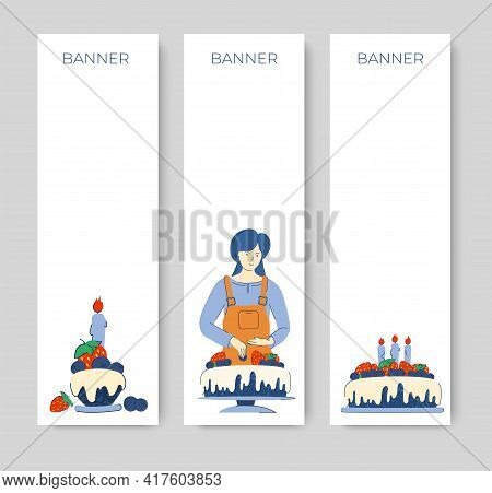 Vertical Banner For Social Networks And Advertising. A Woman Decorates Cakes And Pastries With Straw