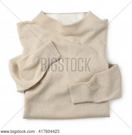 Cashmere Sweater On White Background, Top View