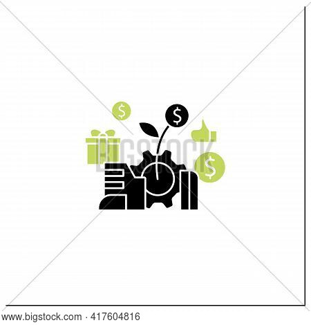 Economic Expansion Glyph Icon.increase In Economic Level Activity. Rise In Gdp. Universal Basic Inco