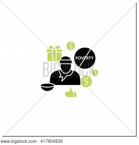 Ending Poverty Glyph Icon. Rise In Living Standards. Improving Living Conditions. Universal Basic In