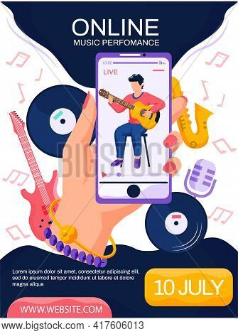 Woman Watching Video Of Male Content Creator Playing Guitar. Online Music Performance Concept Poster