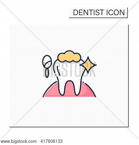 Cosmetic Dentistry Procedures Color Icon. Therapy Improves A Patient Smile And Self-confidence.teeth