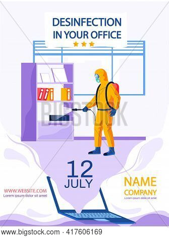 Disinfection In Your Office Concept Poster. Website For Company Providing Disinfecting Services