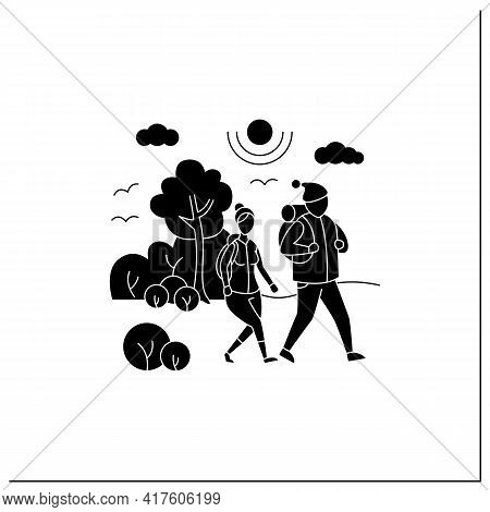 Friluftsliv Glyph Icon. Family Hiking. Man And Woman Walking In Park. Nice Weather. Nature Landscape
