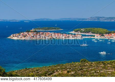 Primosten, Sibenik Knin County, Croatia. Town Of Primosten Panoramic View, Dalmatia Region Of Croati