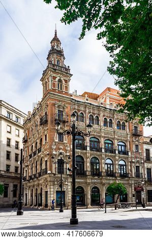Seville, Andalusia, Spain - May 12, 2013: A Beautiful Architectural Building In New Square (plaza Nu