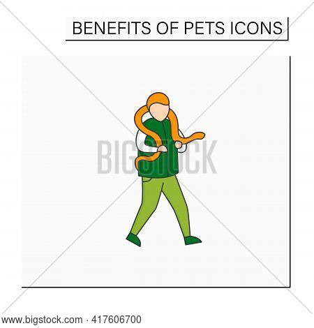 Pets Benefits Color Icon.keep Snake On Shoulders. Care, Handle, Feed. Animal Caring Concept. Isolate