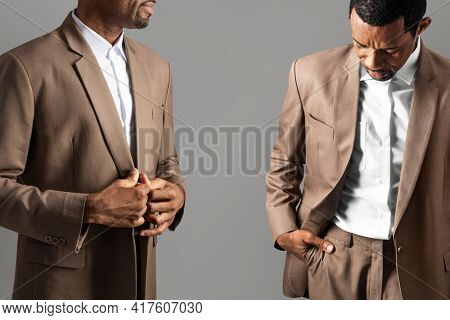 African American man wearing brown suit for apparel ad