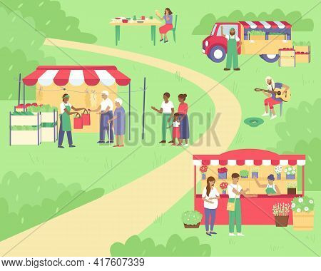 Spring Summer Sale At The Fair. Tents With Vegetables, Flowers And Utensils. Family Fun, Walking Aro