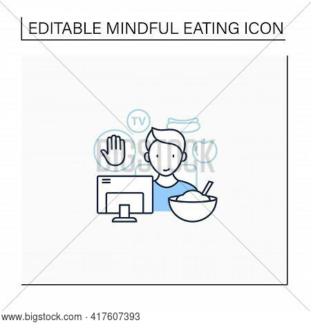 Mindful Eating Line Icon. Eating On The Couch, Watching Tv.eat Mindlessly, Unconscious Nutrition.hea