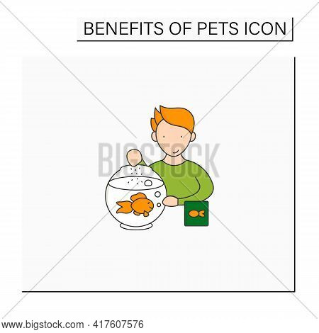 Pets Benefits Color Icon.teaching Kids Responsibility. Animal Caring. Feed Fish. Pets Care Concept.
