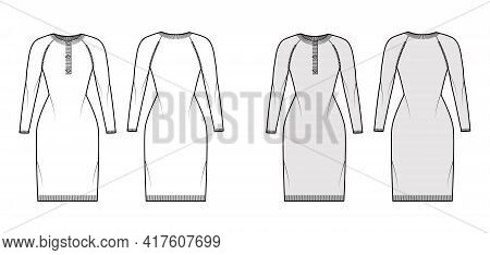Dress Sweater Henley Neck Technical Fashion Illustration With Long Raglan Sleeves, Slim Fit, Knee Le