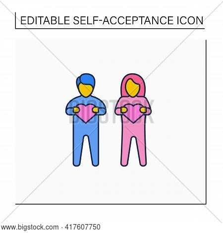 Self-acceptance Line Icon. Acceptance Strengths And Weaknesses. Identification. Self Love. Lgbtq Com