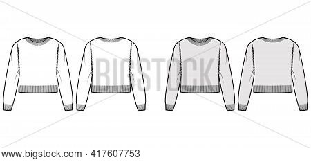 Crew Neck Cropped Sweater Technical Fashion Illustration With Long Sleeves, Relax Fit, Waist Length,