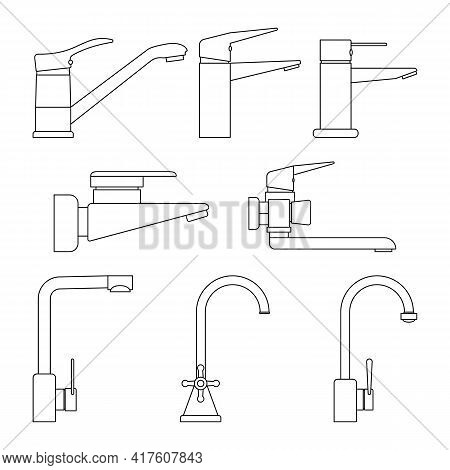 Set Of Icons Water Taps, Faucets For Bathroom And Kitchen On White Background. Transparent And Outli