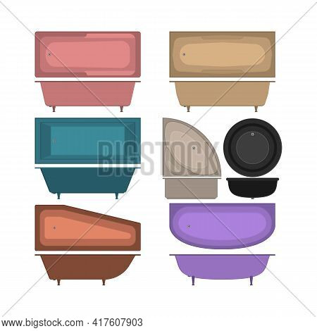 Set Of Icons Bathtubs And Washbasins. Top View And Side. Bathtubs Of Different Style And Shape. Isol