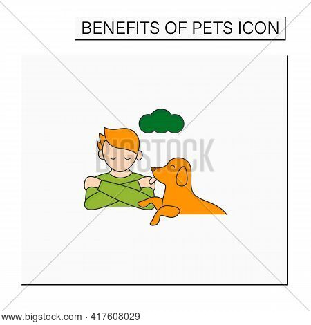 Pets Benefits Color Icon. Animals Ease Loneliness.providing Companionship.reduce Depression. Animal
