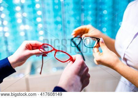 Optometrist Checking Eyesight And Vision Correction On Store.