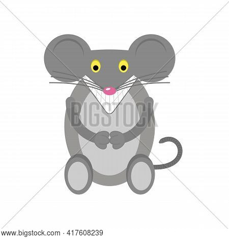 The Cartoon Animal Mouse Is Smiling. Design Element For Packaging Products For Rodents, Mice Or Rats