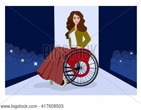 A Young Disabled Girl On The Catwalk At A Fashion Show. The Disabled Person Is The Top Model Of The
