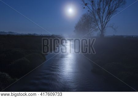 Moonlight Night And River Beautiful Night Landscape
