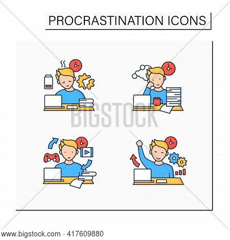 Procrastination Color Icons Set. Fatigue, Work Procrastinating, Habits, Overcome Procrastination. Ov